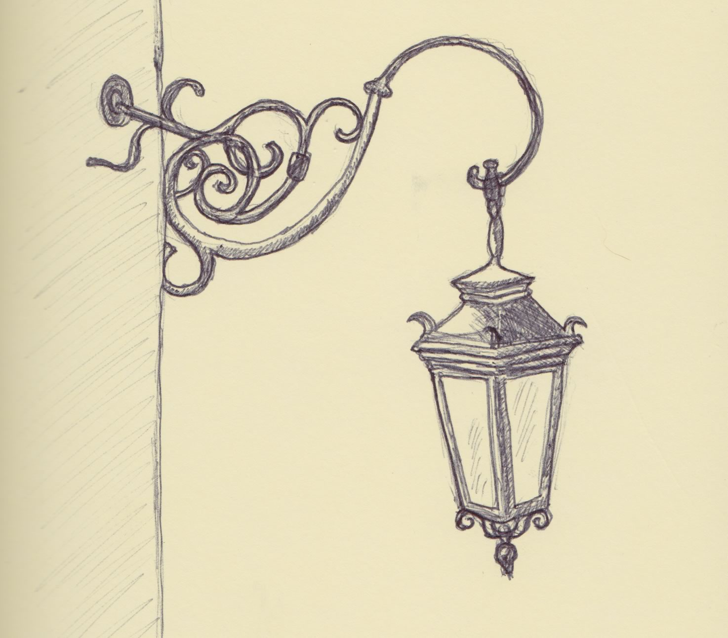 Old Lamp Post Drawing